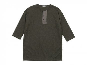 TOUJOURS Big Henley Neck Shirt OLIVE BROWN