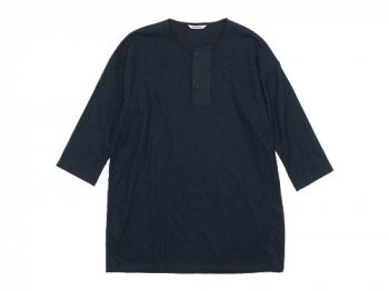 TOUJOURS Big Henley Neck Shirt NAVY