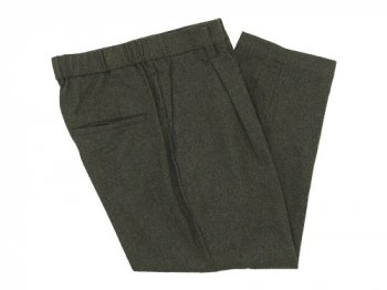 TOUJOURS Tapered Tuck Trousers OLIVE BROWN