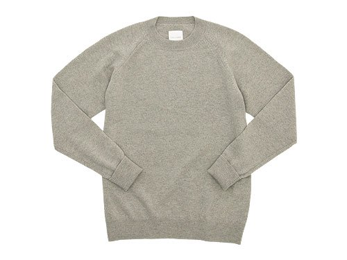 TOUJOURS Plain Stitch Crew Neck Pullover MUSHROOM