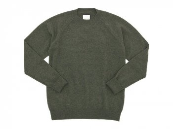 TOUJOURS Plain Stitch Crew Neck Pullover OLIVE