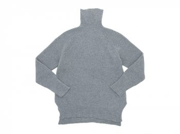 TOUJOURS Rib Stitch Turtle Slit Neck Pullover LIGHT GRAY