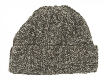 Kerry Woollen Mills Knit Cap WHITE x BROWN