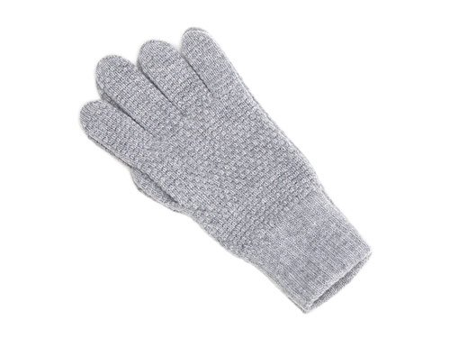 William Brunton Hand Knits Tuck Stitch Gloves LIGHT GRAY