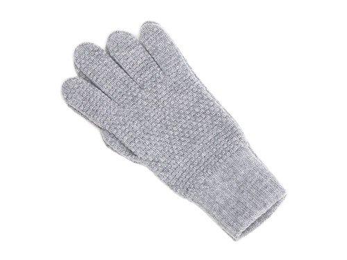 William Brunton Hand Knits Tuck Stitch Gloves LIGHT GRAY