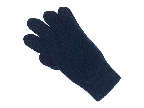 William Brunton Hand Knits Tuck Stitch Gloves NAVY