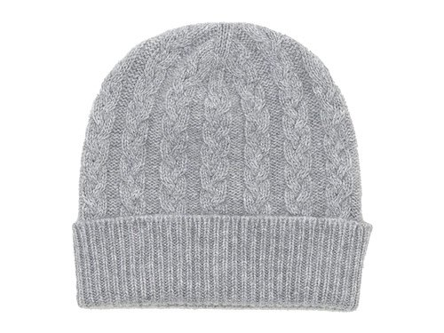 William Brunton Hand Knits Cable Hat LIGHT GRAY