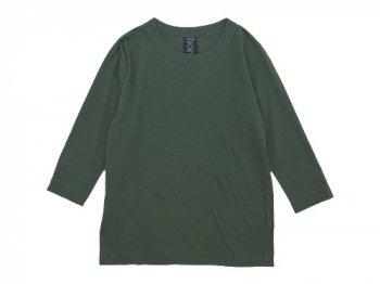 homspun 天竺七分袖Tシャツ ダークグリーン