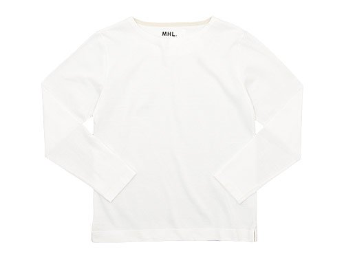 MHL. DRY COTTON JERSEY L/S T-SHIRTS 030WHITE〔メンズ〕