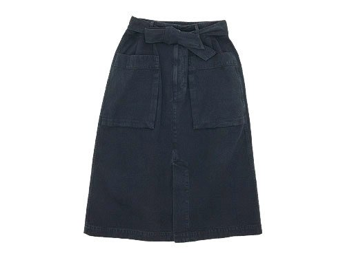 MHL. FADED COTTON TWILL SKIRT 115NAVY 〔レディース〕