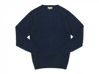 MARGARET HOWELL MERINO CASHMERE TWIST SADDLE CREW KNIT 120NAVY 〔メンズ〕