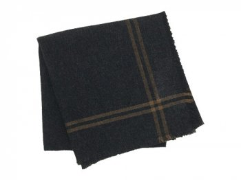 MARGARET HOWELL CASHMERE WOOL SQUARE SCARF 023CHARCOAL
