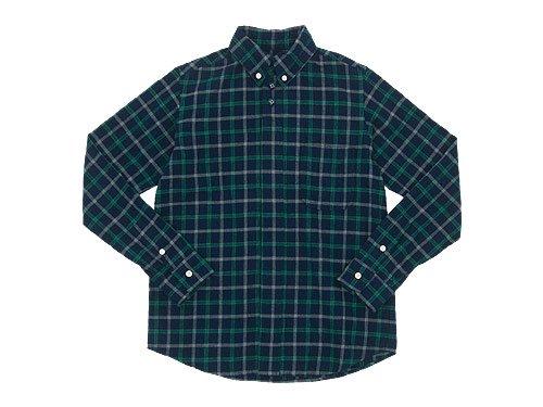 nisica 長袖ボタンダウンシャツ チェック NAVY x GREEN