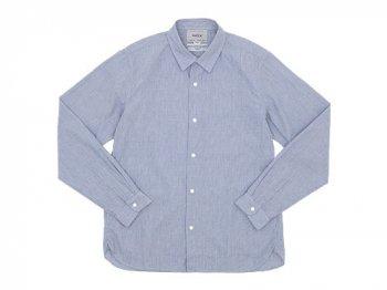 YAECA コンフォートシャツ レギュラーカラー BLUE STRIPE 〔メンズ〕