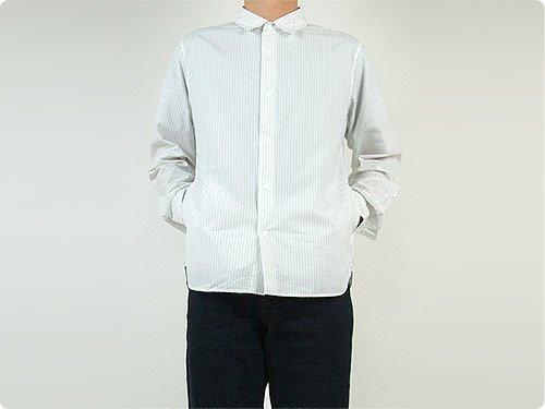 YAECA コンフォートシャツ レギュラーカラー NAVY STRIPE 〔メンズ〕