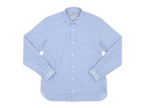 YAECA コンフォートシャツ ロング BLUE STRIPE 〔メンズ〕
