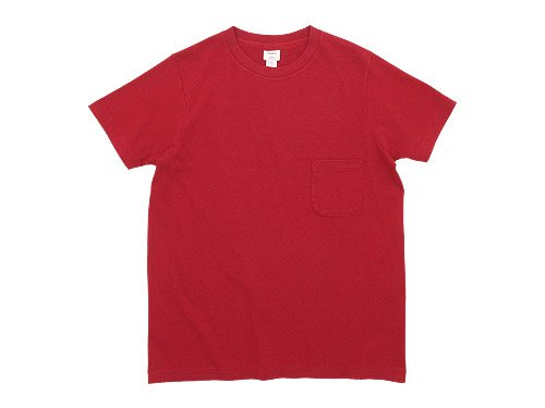 YAECA STOCK ポケットTシャツ RED 〔メンズ〕