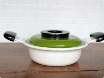 グリーン レトロ両手鍋