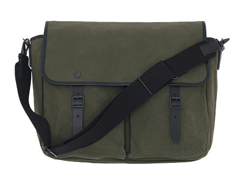 MARGARET HOWELL x PORTER PARAFFIN WAXED COTTON SHOULDER BAG 180MOSS GREEN