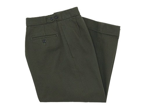 MHL. RAISED COTTON DRILL WIDE CROPPED PANTS 180OLIVE 〔レディース〕