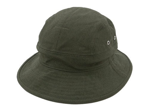 MHL. RAISED COTTON DRILL HAT 180OLIVE