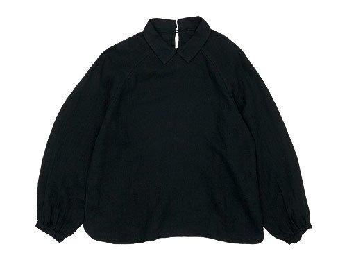 maillot mature airly linen mini collar smock shirt BLACK