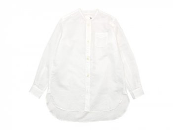 blanc no collar long shirts cotton ramie WHITE
