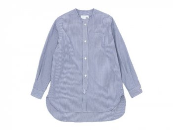 blanc no collar long shirts NAVY STRIPE
