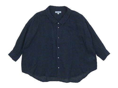 ordinary fits BARBER SHIRT check BLUE x BLACK