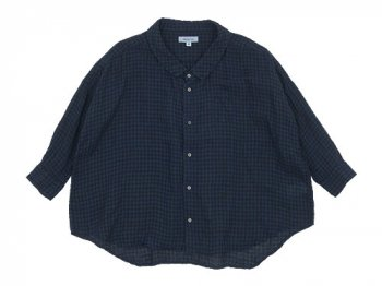 ordinary fits BARBER SHIRT check BLUE x BLACK