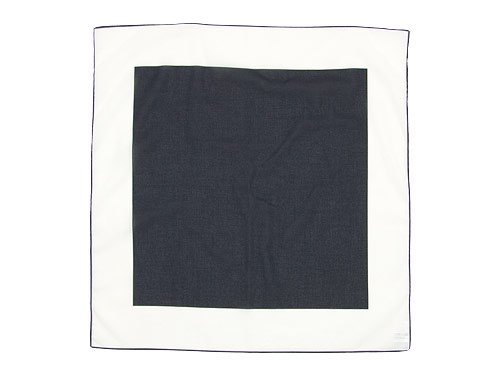 MHL. FINE COTTON PLAIN WEAVE PRINT SCARF 120NAVY