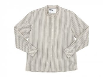 MHL. WIDE STRIPE COTTON NO COLLAR SHIRTS 040ECRU 〔メンズ〕