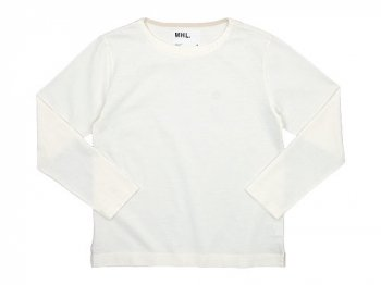 MHL. DRY COTTON JERSEY L/S T-SHIRTS 030WHITE 〔メンズ〕