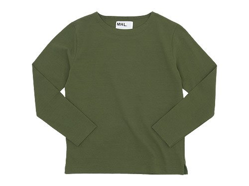 MHL. DRY COTTON JERSEY L/S T-SHIRTS 140OLIVE 〔メンズ〕