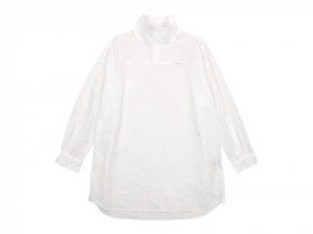 TOUJOURS High Neck Big Shirt WHITE