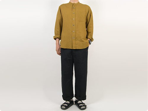 MARGARET HOWELL SHIRTING LINEN NO COLLAR SHIRTS 051MUSTARD 〔メンズ〕