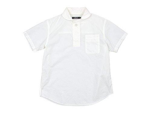 LOLO コットン半袖プルオーバーシャツ WHITE