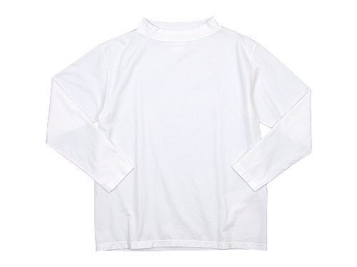 TOUJOURS High Boat Neck Big Basque Shirt WHITE