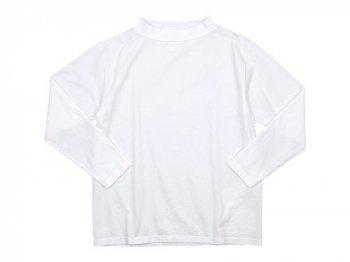 TOUJOURS High Boat Neck Big Basque Shirt WHITE