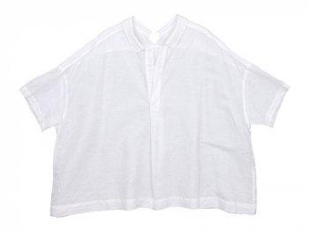 TOUJOURS Open Back Yolk Skipper Shirt WHITE