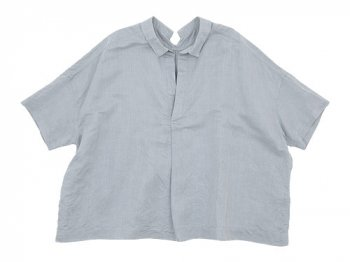 TOUJOURS Open Back Yolk Skipper Shirt LIGHT GRAY