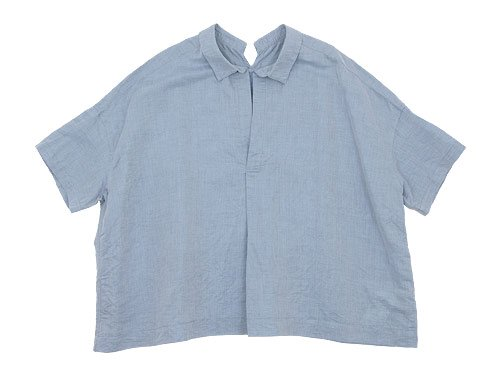 TOUJOURS Open Back Yolk Skipper Shirt SAXE BLUE