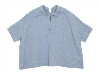 TOUJOURS Open Back Yolk Skipper Shirt SAXE BLUE