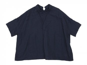 TOUJOURS Open Back Yolk Skipper Shirt NAVY