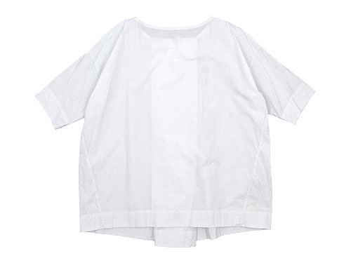 TOUJOURS Boat Neck Wrap Back Shirt SMOKE WHITE