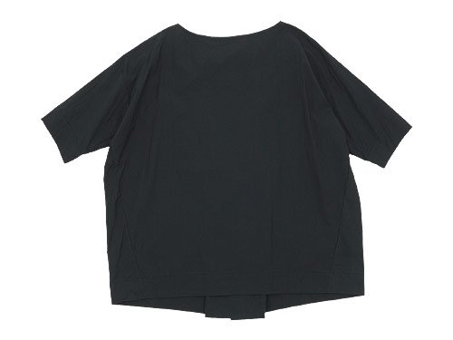 TOUJOURS Boat Neck Wrap Back Shirt NAVY BLACK