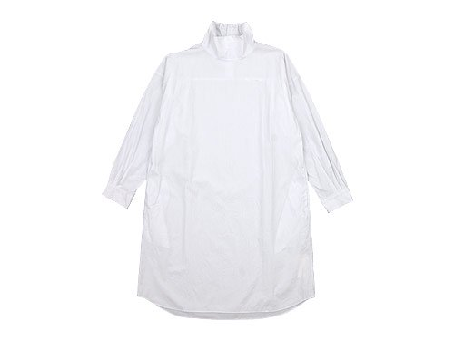 TOUJOURS High Neck Big Shirt Dress SMOKE WHITE