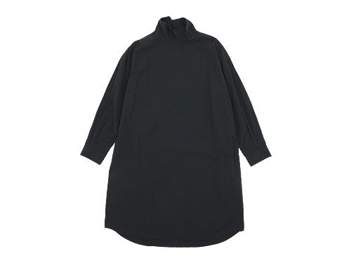 TOUJOURS High Neck Big Shirt Dress NAVY BLACK