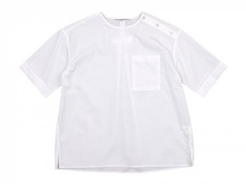Charpentier de Vaisseau Sophie Shoulder Button Short Sleeve Shirts WHITE