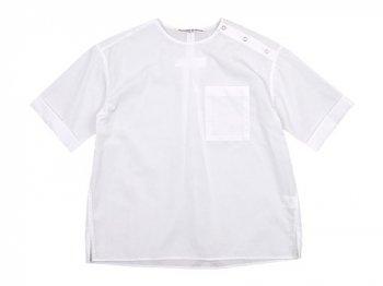 Charpentier de Vaisseau Sophie Shoulder Button Short Sleeve Shirts WHITE